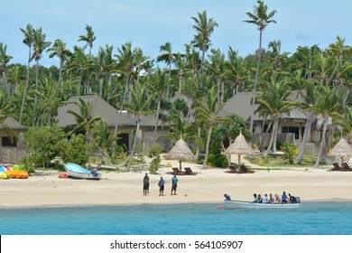 NADI, FIJI - DEC 12 2016:Tourists arrive to resort on one of the Mamanucas islands. The volcanic archipelago is a very popular tourist destination, lying West to Viti levu the main Island of Fiji