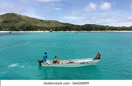 NADI, FIJI - DEC 12 2016:Tourists arrive to a resort on one of the Mamanucas islands. The volcanic archipelago is a very popular tourist destination, lying West to Viti levu the main Island of Fiji