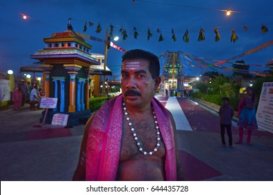 NADI, FIJI - FEB 09 2017:Indo-fijian man visit at Sri Siva Subramaniya Hindu temple in Nadi, Fiji.It is the largest Hindu temple in the Southern hemisphere.