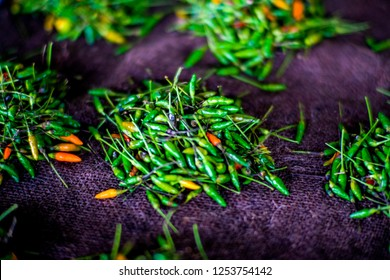 NADI, FIJI ISLANDS/DECEMBER,8, 2018: Isolated pack of Chilies waiting to be bought on Nadi Market, Fiji Islands