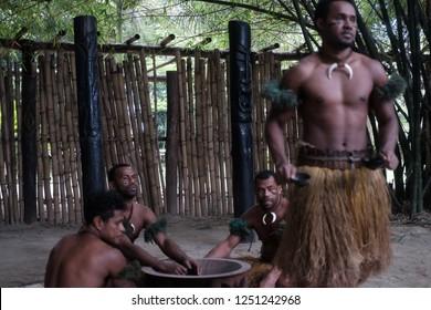 NADI/ FIJI ISLANDS-NOVEMBER 24,2018: Fijian Warrior doing the National Kava Ceremoni when they invite us to their village.