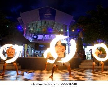 NADI, FIJI - JAN 01 2017: Street Fire performance in Port Denarau Shopping Centre  in Nadi, Fiji.It is a very popular travel destination in Nadi, Fiji.