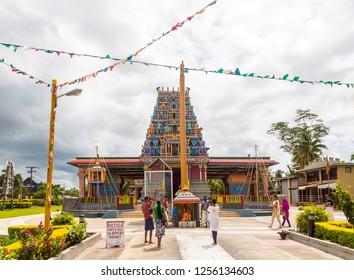 Nadi, Fiji - Jan 04 2015: Fijians of Indian descent (Indo-Fijians) visiting holy Sri Siva Subramaniya Hindu temple, Nadi, Fiji islands, Melanesia, Oceania, South Pacific Ocean.