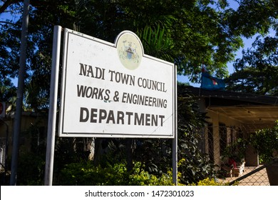 NADI, FIJI - MAY 1, 2019: Sign and Seal in front of the Nadi Town Council Works and Engineering Department Building