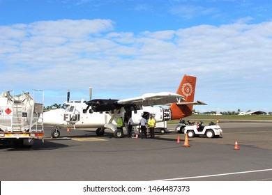 Nadi, Viti Levu / Fiji - August 21 2016: A small Fiji link aeroplane on the runway at Nadi airport