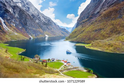 Naeroyfjord - fjord landscape in Sogn og Fjordane region.