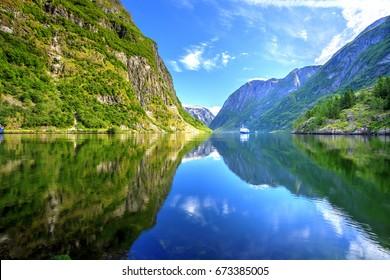 Naeroyfjord Reflection, Gudvangen, Norway