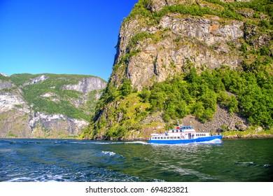 Naeroyfjord seen from Cruise, Norway