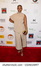 Nafeesa Williams arrives at The Rafi 2019 Pre-Oscars Gifting Lounge at the Waldorf Astoria Hotel, Beverly Hills, CA on Feb. 22, 2019.