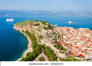 Nafplio aerial panoramic view from Palamidi fortress. Nafplio is a seaport town in the Peloponnese peninsula in Greece.