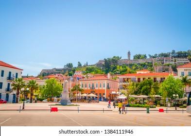 NAFPLIO, GREECE, 19 April 2018: Panoramic view on beautiful city Nafplio, Greece