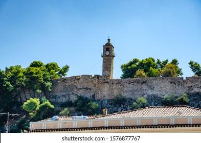NAFPLIO, GREECE - APRIL 2018: The historical old clock tower of Nafplio city, Argolis, Greece.