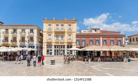 NAFPLIO, GREECE - APRIL 27: Plateia Syntagmatos (Constitution Square) on April 27, 2018 in Nafplio, Greece. Plateia Syntagmatos is the main square of the town and attracts many visitors of the town.