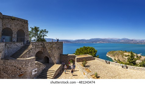NAFPLIO - GREECE, AUGUST 2015: Panoramic view at the top of Palamidi Fortress in Nafplion, Argolis  Peloponnese, Greece