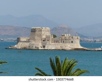 Nafplio, Greece / Greece - August 2019: Bourtzi castle in Nafplio
