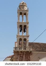 Nafplio, Greece / Greece - August 2019: Church tower in Nafplio