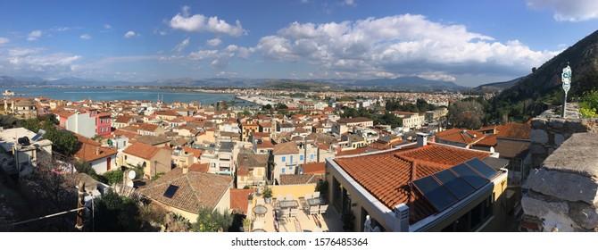 NAFPLIO, GREECE - FEBRUARY 8, 2019: Wide angle panorama of the Nafplio city in Greece, Europe