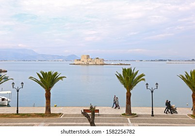 NAFPLIO GREECE, NOVEMBER 18 2018: scenery of Bourtzi castle at Nafplio town Argolis Greece - a Venetian castle in the middle sea. Editorial use.