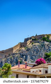 NAFPLIO, GREECE - OCTOBER 2015: The historical Palamidi fortress against a deep blue sky, in Nafplio city, Argolis, Greece