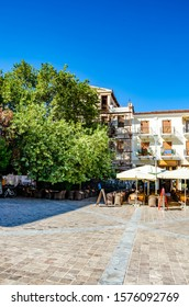 NAFPLIO, GREECE, SEPTEMBER 2016: The beautiful narrow streets of Nafplio city. Nafplion is a nice, romantic and one of the most idyllic destinations in Southern Europe located in Argolis, Greece