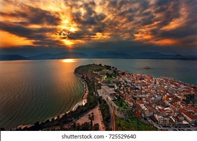 "NAFPLIO TOWN, GREECE.  Panoramic view of Nafplio town and the Argolic gulf around sunset. Argolis (""Argolida""), Peloponnese, Greece"