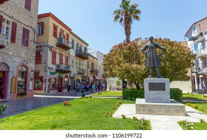 NAFPLION, GREECE - APRIL 27: The statue of King Otto at Trion Navarchon square on April 27, 2018 in Nafplion. Otto was Bavarian prince who became the first modern King of Greece in 1832.