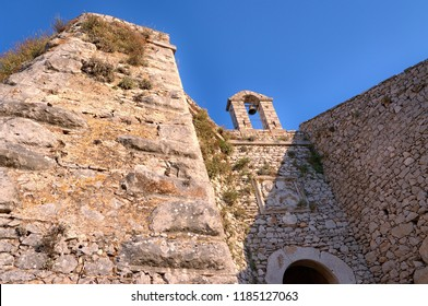NAFPLION, GREECE - JULY 10, 2009: fortification of Palamidi Fortress and venetian winged lion