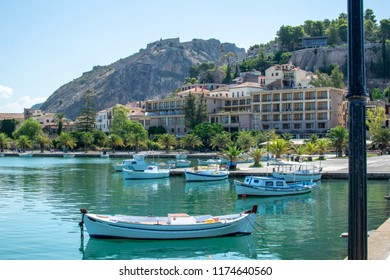Nafplion,Greece-September 8,2018.A view of the sea promenade of the city.