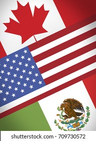 NAFTA economical trade agreement, Canada, USA and Mexico flags