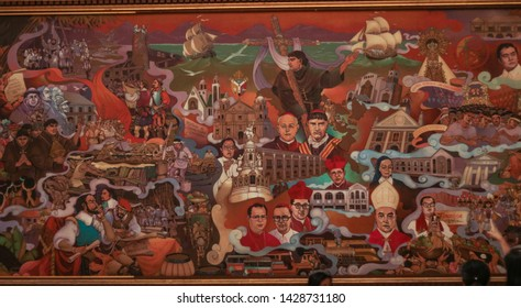 NAGA CITY, CAMARINES SUR / PHILIPPINES - MARCH 4, 2019: A huge mural painting about the history of bicol region inside the walls of the Naga Metropolitan Cathedral