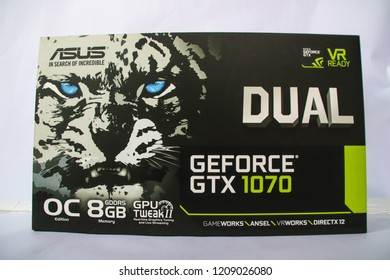 NAGA CITY, PHILIPPINES - OCT. 24, 2018. A close-up photo of a box of an ASUS Geforce GTX 1070 OC 8GB