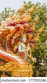 Naga heads thai art in buddhist temple.