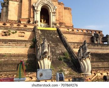 Naga ladders of the main temple at Wat Chedi Luang, Chiang Mai, Thailand (20 January 2014)