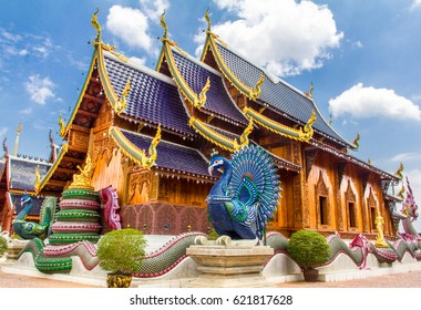 Naga and peacock guarding the Church of BAN DEN SA LEE Temple, MAE TANG District, Chiang Mai Province, Northern Thai, Thailand