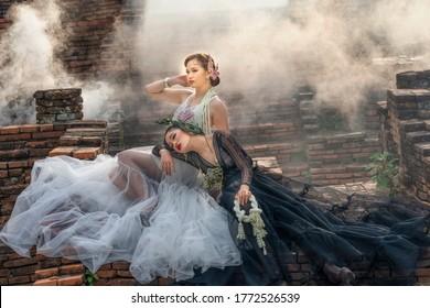 The Naga Photograph, A Legend in Thailand. Young beautiful model girl in beautiful fashion dress as female Naga