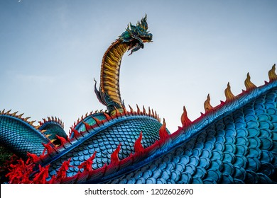 Naga or serpent statue in Mukdahan province thailand, The belief of Buddhism, Thai temple