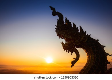 Naga statue or King of nagas Serpent animal in Buddhist legend.