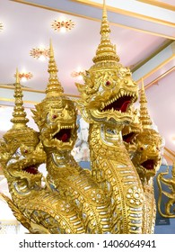 Naga statue in the temple, The Golden Naga statue in Thai temple.Serpent animal in Buddhist legend., Naga statue or King of nagas in the temple.