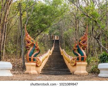 Naga statue in Thai a temple