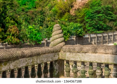 The naga tails as a pagoda corridor in a temple in Cambodia