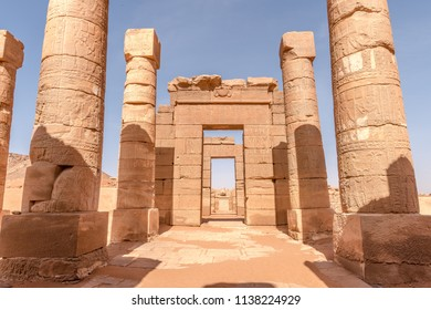 Naga temples Sudan. South of the ancient city of Meroe, stone rams guard the entrance to the Amun Temple in Naga, near a large bend in the Nile River in Africa Sahara Desert