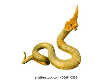 Naga Thai statue isolate on the white background with clipping path
