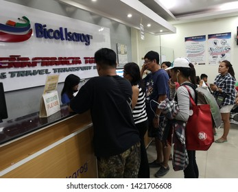 Nagacity philipine 29 5 2019 . People buying bus ticket at bicol isarog company