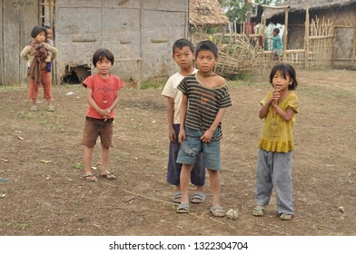Nagaland, India - March 2012: Group of poor children in Nagaland, remote region of India. Documentary editorial.