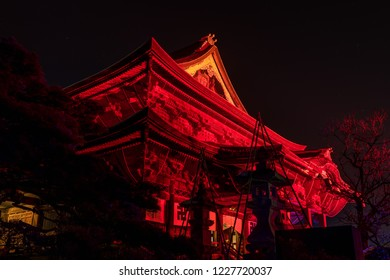 Nagano, Japan 02-08-2018 Zenkoji temple illuminted to commemorate the anniversary of the 1998 winter olympics in Nagano