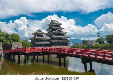Nagano, Japan 05 Aug, 2017- Matsumoto Castle in Matsumoto, Nagano Prefecture, Japan. It is  National Treasures of Japan, a famous historic site.