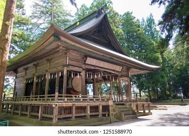Nagano, Japan 06 Aug, 2017- Suwa-taisha (Suwa Grand Shrine) Kamisha Honmiya in Suwa, Nagano Prefecture, Japan. Suwa Taisha shrine is one of the oldest shrine built in 6-7th century.