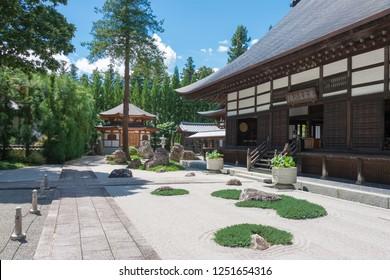 Nagano, Japan 06 Aug, 2017- Traditional Japanese Garden at Jiunji Temple in Shimosuwa, Nagano Prefecture, Japan. a famous historic site.