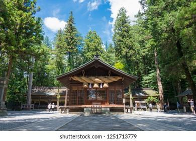Nagano, Japan 06 Aug, 2017- Suwa-taisha (Suwa Grand Shrine) Shimosha Harumiya in Shimosuwa, Nagano Prefecture, Japan. Suwa Taisha shrine is one of the oldest shrine built in 6-7th century.