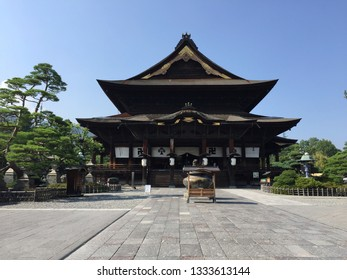 NAGANO, JAPAN - 18th JULY 2018 : Front view of the beautiful wooden Zenko-ji temple - one of the most important temple in all over Japan - located in Nagano